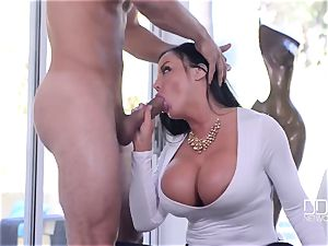 cute busty cougar with ideal curvaceous assets takes stranger's large pecker in her cock-squeezing pussy
