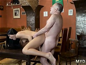 elderly doctor poke youthful spotted his dad and his girlpatron naked on a table in the middle of
